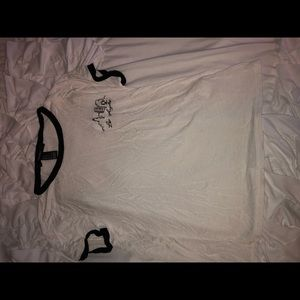 white t-shirt with los angles embroidered
